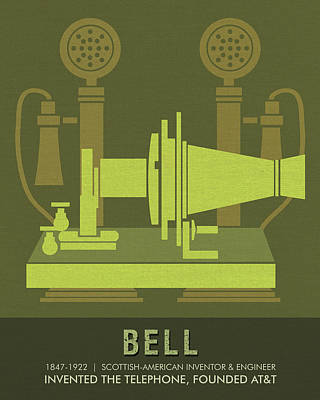 Royalty-Free and Rights-Managed Images - Science Posters - Alexander Graham Bell - Inventor, Engineer by Studio Grafiikka