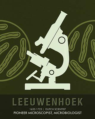 Science Posters - Antonie Van Leeuwenhoek - Microbiologist Art Print by Studio Grafiikka
