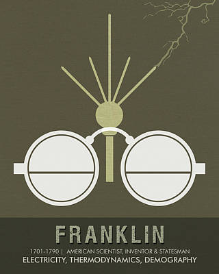 Mixed Media - Science Posters - Benjamin Franklin - Scientist, Inventor, Statesman by Studio Grafiikka