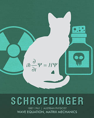 Wave Mixed Media - Science Posters - Erwin Schroedinger - Physicist by Studio Grafiikka