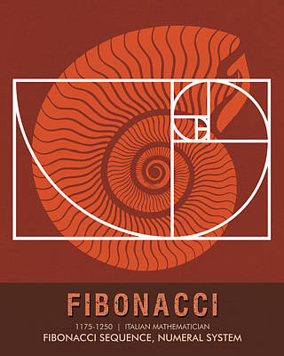 Mixed Media - Science Posters - Fibonacci - Mathematician by Studio Grafiikka