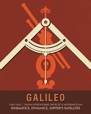Royalty-Free and Rights-Managed Images - Science Posters - Galileo Galilei - Astronomer, Physicist, Mathematician by Studio Grafiikka