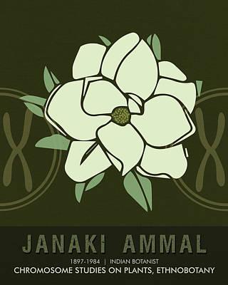 Biology Mixed Media - Science Posters - Janaki Ammal - Botanist by Studio Grafiikka