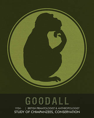 Chimpanzee Mixed Media - Science Posters - Jane Goodall - Anthropologist, Primatologist by Studio Grafiikka