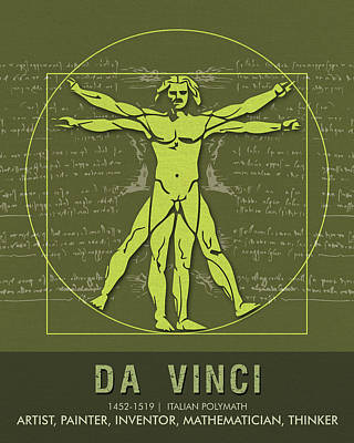 Science Posters - Leonardo Da Vinci - Artist, Inventor, Mathematician Art Print
