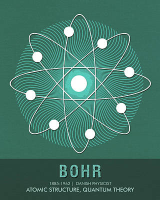 Royalty-Free and Rights-Managed Images - Science Posters - Niels Bohr - Physicist by Studio Grafiikka