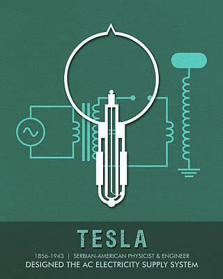 Royalty-Free and Rights-Managed Images - Science Posters - Nikola Tesla - Physicist, Engineer by Studio Grafiikka