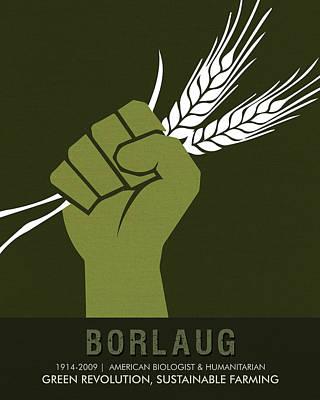 Revolution Mixed Media - Science Posters - Norman Borlaug - Biologist, Agronomist by Studio Grafiikka