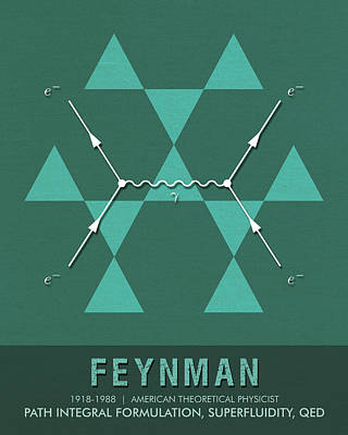 Mixed Media - Science Posters - Richard Feynman - Theoretical Physicist by Studio Grafiikka