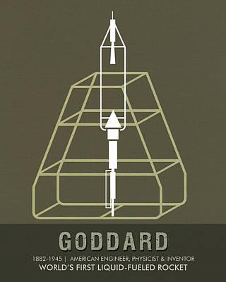 Stems Mixed Media - Science Posters - Robert.h.goddard - Engineer, Physicist, Inventor by Studio Grafiikka
