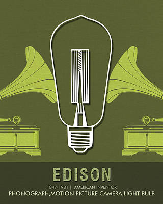 Mixed Media - Science Posters - Thomas Alva Edison - Inventor by Studio Grafiikka