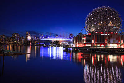 Science World And Fireworks Print by Alan W