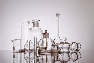 Medicine Bottles Photograph - Scientific Glassware by Tom Mc Nemar