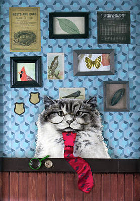 Drawing - Scientist Cat  by Mary Williams