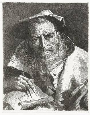 Hand On Head Painting - Scientist With Beret On Head And Compass In Hand Giovanni Domenico Tiepolo After Giovanni Battista by Celestial Images