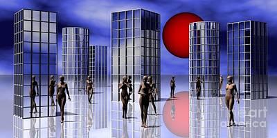 Surrealistic Digital Art - Scifi City by Issabild -