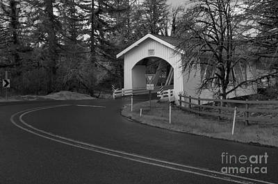 Photograph - Scio Oregon Covered Bridge - Back And White by Adam Jewell