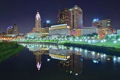 Photograph - Scioto Reflection At Night by Frozen in Time Fine Art Photography