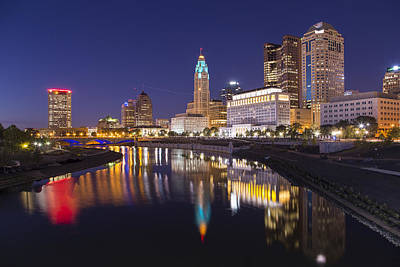 Photograph -  Scioto Reflections - Columbus by Alan Raasch