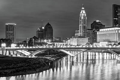 Photograph - Scioto River Reflections Of Columbus Skyline  Black And White by Gregory Ballos