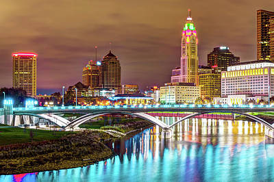 Photograph - Scioto River Reflections Of Columbus Skyline by Gregory Ballos