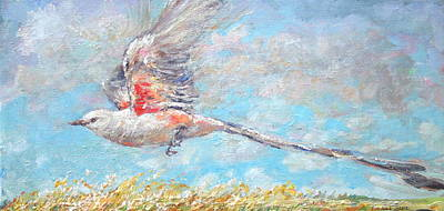 Flycatcher Painting - Scissor Tail Flycatcher Flight by Jimmy Leach