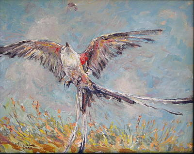 Flycatcher Painting - Scissor Tail Flycatcher  by Jimmy Leach
