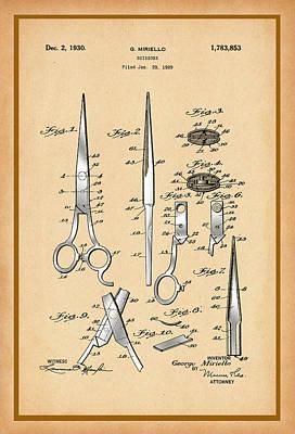 Digital Art - Scissors Patent Drawing by Carlos Diaz