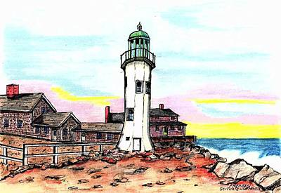 Lighthouse Drawing - Scituate Lighthouse by Paul Meinerth