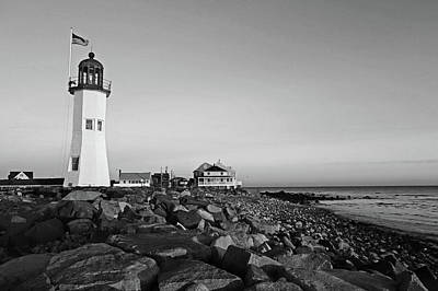 Photograph - Scituate Lighthouse Scituate Massachusetts South Shore At Sunrise Rocks Black And White by Toby McGuire