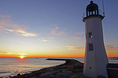 Photograph - Scituate Lighthouse Scituate Massachusetts South Shore Sun Rising by Toby McGuire