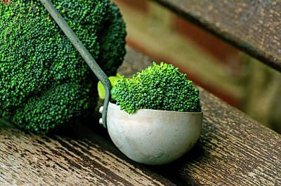 Scoop Of Fresh Broccoli  Art Print by Conger Design