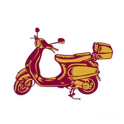 Scooter Bike Side Vintage Woodcut Art Print by Aloysius Patrimonio