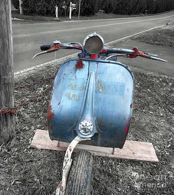 Scooter In Elderly Blue  Art Print by Steven Digman