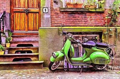 Brick Buildings Painting - Scooter Parking Only by Edward Fielding