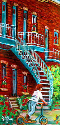 Montreal Buildings Painting - Scooter Ride Along Coloniale Street by Carole Spandau