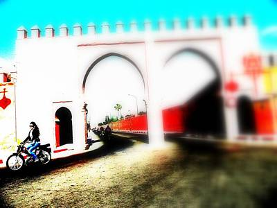 Morroco Photograph - Scootering Through A Medina Gate  by Funkpix Photo Hunter