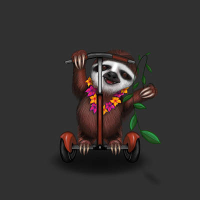 Sloth Digital Art - Scootin' Sloth by Andrea Skeries