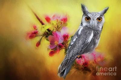 Digital Art - Scops Owl by Suzanne Handel