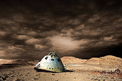 Photograph - Scorched Space Capsule In Barren by Marc Ward