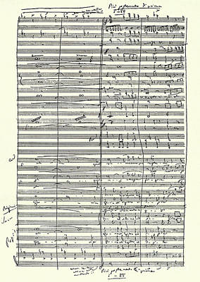 Verdi Wall Art - Drawing - Score From Aida Finale Of The Second Act by Giuseppe Verdi