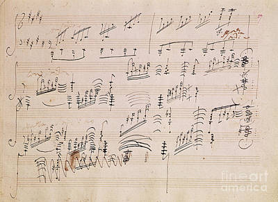 Ink Wall Art - Painting - Score Sheet Of Moonlight Sonata by Ludwig van Beethoven