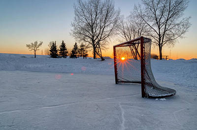 Pond Hockey Photograph - Scoring The Sunset 2 by Darcy Michaelchuk