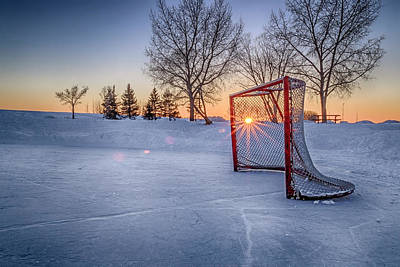 Pond Hockey Photograph - Scoring The Sunset 3 by Darcy Michaelchuk
