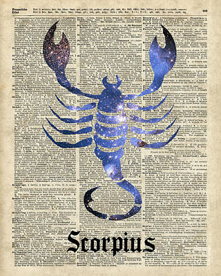 Vintage Antiques Sign Drawing - Scorpius Scorpion Zodiac Sign  by Jacob Kuch