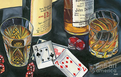 Bottle Painting - Scotch Cigars And Cards by Debbie DeWitt