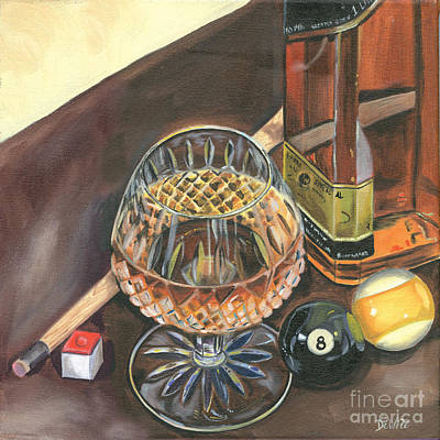 Bottle Painting - Scotch Cigars And Pool by Debbie DeWitt