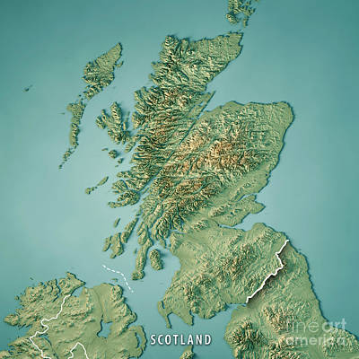 Non People Digital Art - Scotland Country 3d Render Topographic Map Border by Frank Ramspott