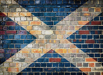Digital Art - Scotland Flag On A Brick Wall by Steve Ball