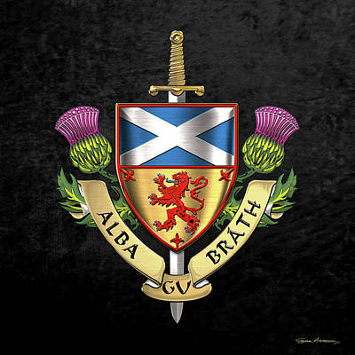 Digital Art - Scotland Forever - Alba Gu Brath - Symbols Of Scotland Over Black Velvet by Serge Averbukh